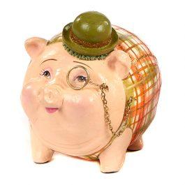 Goodwill Christmas ambiance Gentlemen Piggy Bank creme orange B95167 green