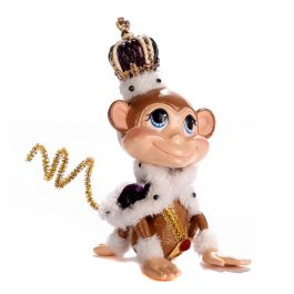 Goodwill Christmas ambiance bobble head royal monkey purple white brown gold B97804