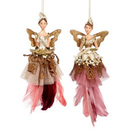Goodwill Christmas ornament Feathered Fairy pink gold creme TR26039