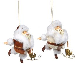 Goodwill Christmas ornament chubby santa with sleigh red white B94450