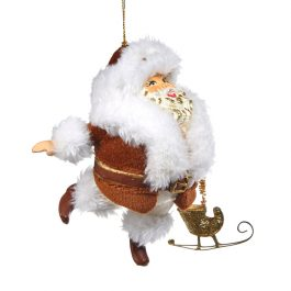 Goodwill Christmas ornament chubby santa with sleigh red white B94450 red